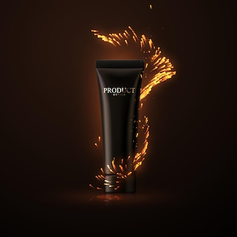Cosmetic cream or shower gel packaging design with fire sparkles