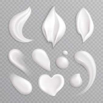 Cosmetic cream smears realistic icon set with white isolated elements different shapes and sizes  illustration
