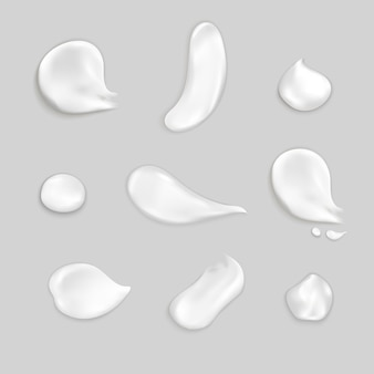 Cosmetic cream smears realistic icon set