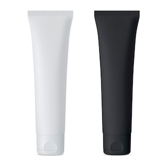 Cosmetic cream tube. black and white vector mockup set.