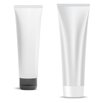 化粧品クリームチューブブランク、白で隔離のプラスチックパッケージ。キャップ付き美容ジェル容器。歯磨き粉製品のパッケージ。リアルなフェイスクリームラッパーデザインセット、スクイーズ