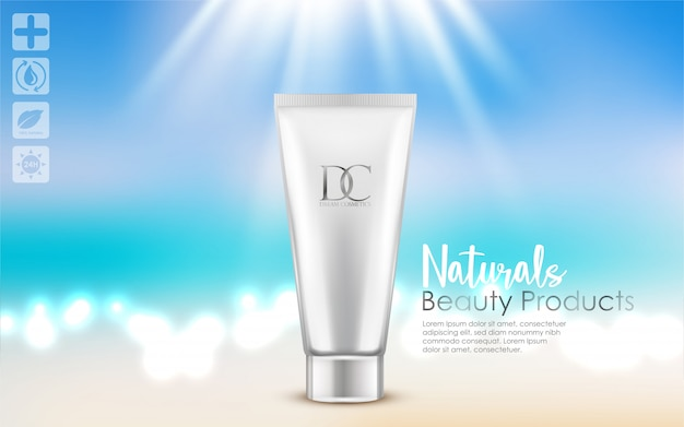 Cosmetic cream tube isolated on white background