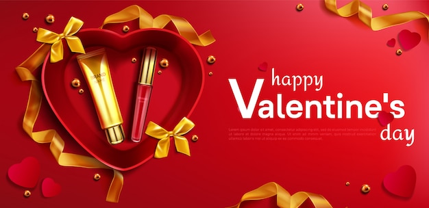 Cosmetic cream tube and lipstick for valentine day