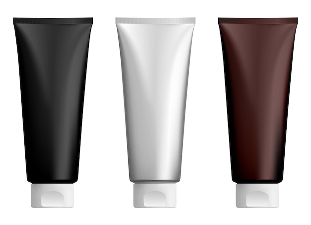 Cosmetic cream tube lotion plastic tubes mockup face of hand gel bottle, realistic soft toothpaste packaging