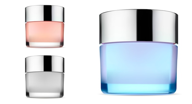 Cosmetic cream vector glass jar. container blank
