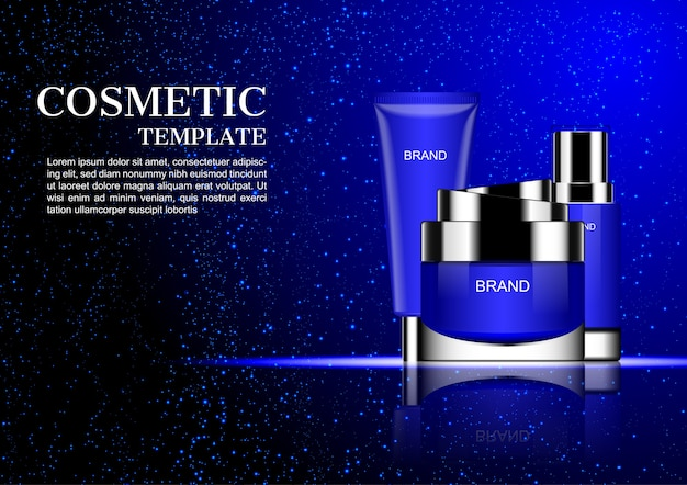 Cosmetic cream with falling blue dust on dark background