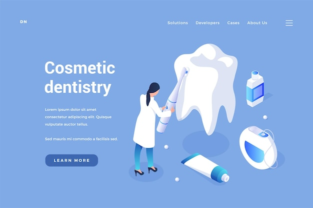Cosmetic curative dentistry teeth whitening and prevention of gums and enamel