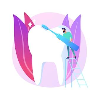 Illustrazione di concetto astratto di odontoiatria cosmetica. servizio odontoiatrico cosmetico, sbiancamento dei denti, odontoiatria restaurativa, rifacimento del sorriso, trattamento estetico, metafora astratta del centro medico.