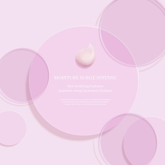 Cosmetic display podiumcosmetic ads with transparent color disc