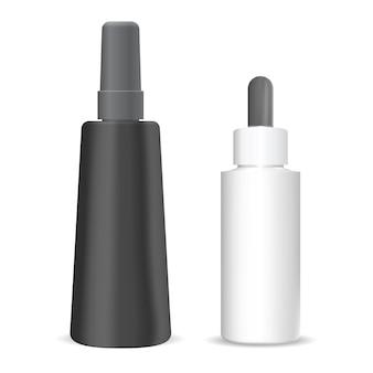 Косметический флакон-капельница. изолированная упаковка флакона с каплей сыворотки. бутылка-пипетка-флакон для жидкого эфирного масла. роскошный пластиковый пакет с пипеткой. шаблон продукта для ароматерапии
