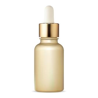 화장품 스포이드 병. 꼭두각시가 있는 혈청 플라스크. 얼굴 피부 콜라겐 수분 수 있습니다. 프리미엄 에센셜 오일 디자인, 아로마테라피 또는 수분 블랭크 템플릿을 위한 골든 플래콘