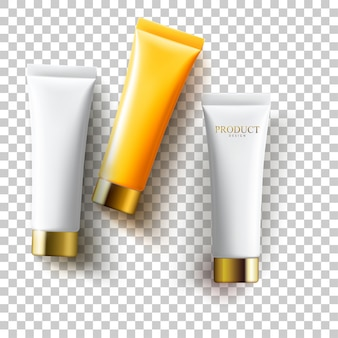 Cosmetic empty tube packaging set with plastic, glossy metal silver and gold cap isolated on transparent background