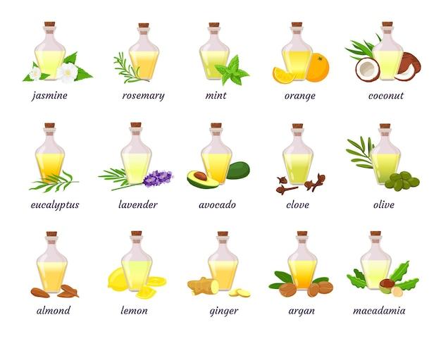허브, 과일, 꽃이 있는 화장품 에센셜 오일 병. 라벤더, 아르간, 코코넛 및 아몬드 너트 오일. 아로마 테라피 또는 피부 오일 벡터 세트입니다. 병 오일 레몬 아몬드의 그림