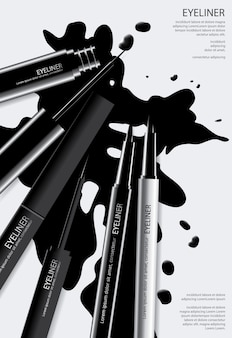 Cosmetic eyeliner poster template