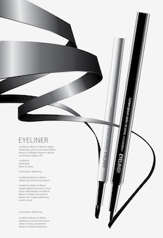 Cosmetic eyeliner with packaging poster design illustration