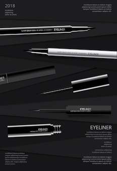 Cosmetic eyeliner with packaging poster design vector illustration