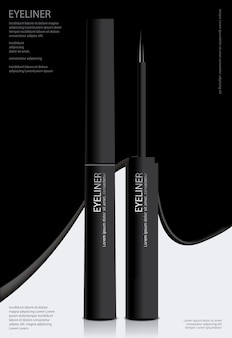 Cosmetic eyeliner with packaging poster design