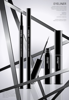 Cosmetic eyeliner with packaging poster illustration