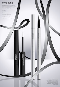 Cosmetic eyeliner with packaging poster