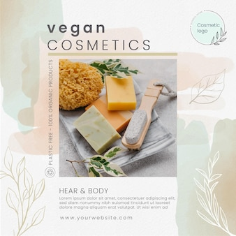Cosmetic flyer template with photo