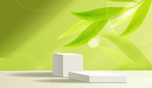Косметический зеленый фон и подиум премиум-класса для презентации продукта, брендинга и упаковки