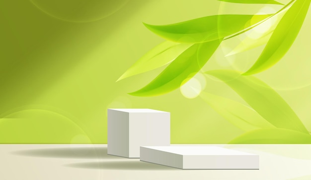 Cosmetic green background and premium podium display for product presentation branding and packaging