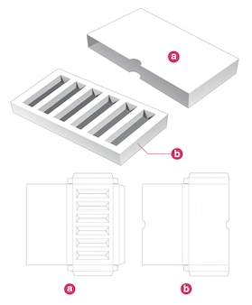 Cosmetic insert box with cover die cut template