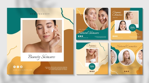 美しい女性の化粧品インスタグラム投稿