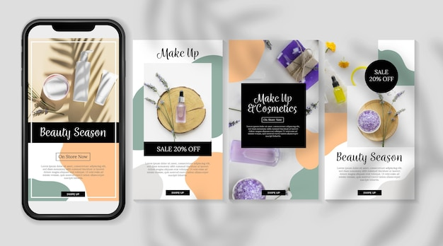 Cosmetic instagram stories organic skin care products