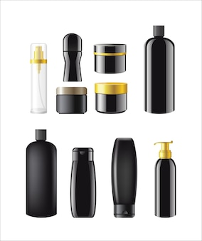 Cosmetic items - realistic vector set of different objects. white background. use this quality clip art elements for your design. apply make up, perfume, soap, deodorant, toilet water, gel, shampoo