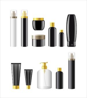 화장품 항목 - 다른 개체의 현실적인 벡터 집합입니다. 흰 바탕. 이 품질의 클립 아트 요소를 디자인에 사용하십시오. 메이크업, 향수, 비누, 탈취제, 화장수, 젤, 샴푸 바르기