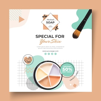 Cosmetic items squared flyer template