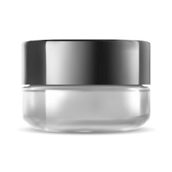 Cosmetic jar. glass cream bottle.