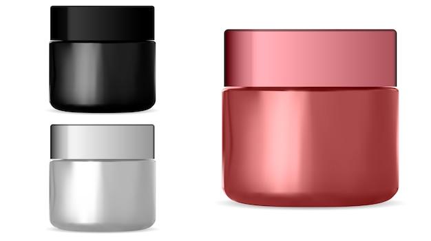 Cosmetic jar. realistic cream bottle set.