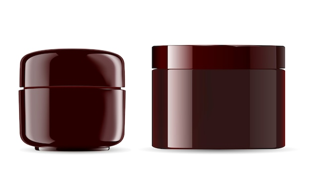 Cosmetic jars mockup pack. amber glossy plastic