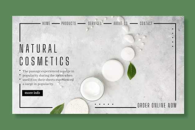 Cosmetic landing page concept