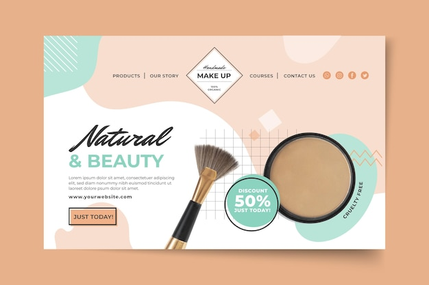 Cosmetic landing page template Free Vector