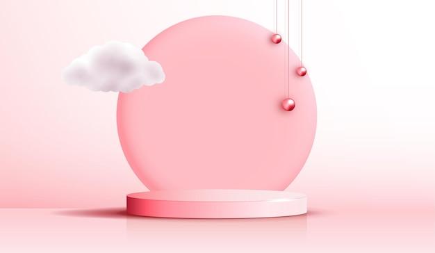 Косметический светло-коричневый фон и подиум премиум-класса для брендинга и упаковки презентации продукта. студийная сцена с облаком и розовой жемчужиной фона. векторный дизайн.