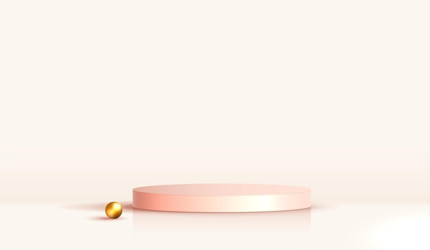 Cosmetic light brown background and premium podium display for product presentation branding and packaging. studio stage with gold pearl of background. vector design.