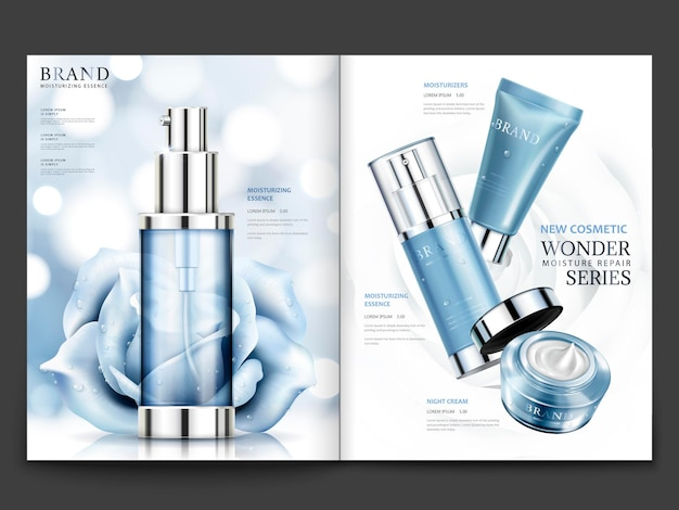 Cosmetic magazine design, blue tone products with roses with condensation isolated on bokeh background in 3d illustration