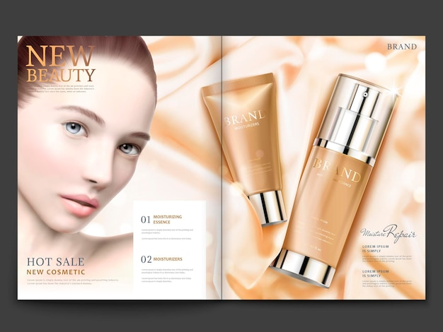 Cosmetic magazine design, skincare products on silky satin with lovely model in 3d illustration