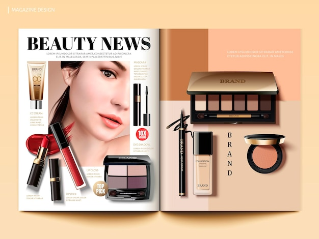 Cosmetic magazine template, beauty fashion info with makeup products in 3d illustration, top view