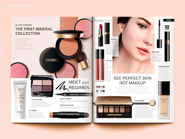 Cosmetic magazine template, cheek blush, eyeshadow and lipsticks products in 3d illustration