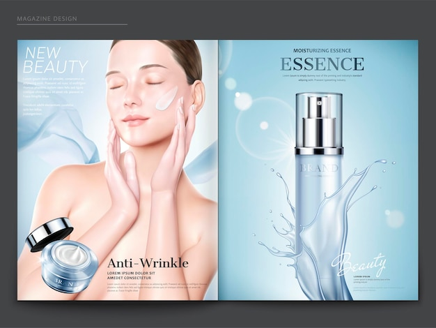 Cosmetic magazine template, elegant model with anti-wrinkle cream on her face, essence spray bottle with splashing liquid in 3d illustration