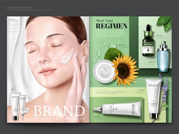 化粧品雑誌のテンプレート、彼女の顔にクリーム色のエレガントなモデル、緑の幾何学的な背景にスキンケア製品、3dイラスト