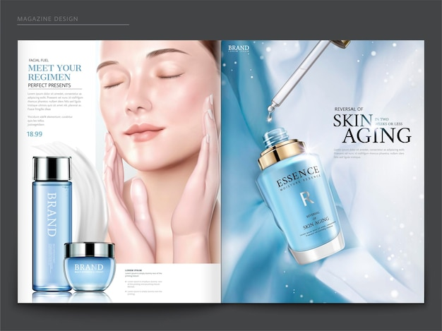 Cosmetic magazine template, elegant model with droplet bottle isolated on light blue chiffon background, in 3d illustration