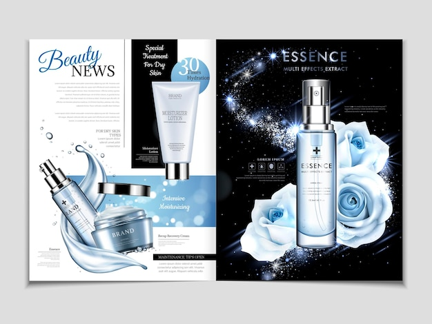 Cosmetic magazine template, gorgeous rose essence in blue tone isolated on galaxy background with flowing liquid in 3d illustration