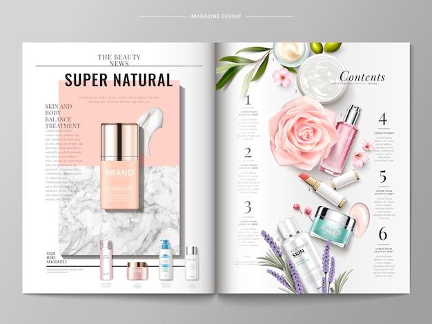 Cosmetic magazine template illustration