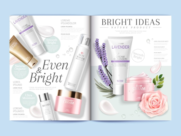 Cosmetic magazine template illustration