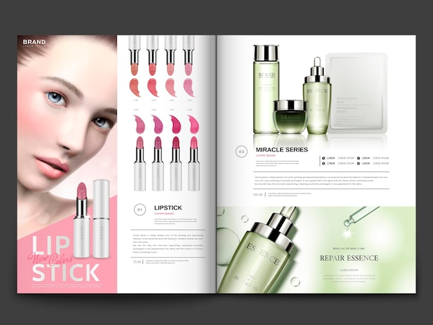 Cosmetic magazine template, lipstick and skin care products with model portrait in 3d illustration, magazine or catalog brochure